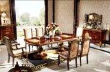 Tabela de jantar de madeira da madeira contínua do projeto da cor de 0063 Italy Drak Brown com jogo clássico da sala de jantar da cadeira