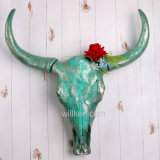 Decoração animal ciana da suspensão de parede do crânio de Bull da resina
