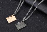 Colliers pendants de mariage d'acier inoxydable d'Or-Couleur de noir de collier de couples de livre romantique de «Love Story»