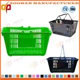 튼튼한 플라스틱 휴대용 바구니 슈퍼마켓 두 배 손잡이 쇼핑 바구니 (Zhb101)