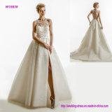 Тяжело украшенное платье венчания лифа с высоко передним разрезом