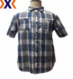 Los hombres Camiseta casual con hilado teñido de tejido cuadriculado