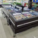 Автомобиль размораживает замораживатель супермаркета острова для индикации замороженных продуктов