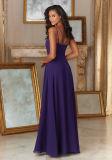 Платья Bridesmaid коктеила выпускного вечера партии вечера спагеттиа пурпуровые шифоновые