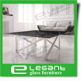 Tavolino da salotto di vetro nero ovale con il supporto intagliato dell'acciaio inossidabile
