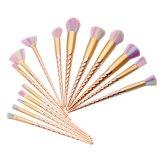 15 piezas Unicornio de oro rosa de logotipo personalizado brochas de maquillaje