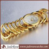 Moda Mujer Oro reloj Relojes de Pulsera de cuarzo de aleación de acero resistente al agua señoras reloj de lujo