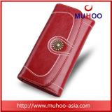 Долго RFID красными кожаными хода педали сцепления кошелек Wallet для женщин