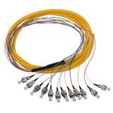 12 tresse de fibre optique de faisceau de la rue UPC 12 de la couleur 0.9mm