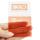 Cartão transparente personalizado do PVC do material