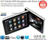 Venta caliente Portátil de 5,0 pulgadas de coche con navegador Gps WINCE 6.0 Cortex A7 Dual Core 800MHz, transmisor FM Bluetooth manos libres, Sat Nav G-5003