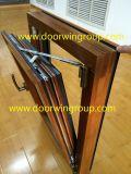 Ventana de aluminio de la tolva de la buena calidad, ventana de compuesto de aluminio de madera, ventana de cristal templada doble / triple