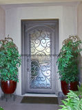 Haut carré de l'intérieur de la sécurité métalliques décoratifs porte en fer forgé