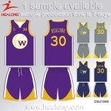 Baloncesto Jersey del diseño de Healong de los deportes del desgaste de los hombres frescos de la sublimación para la venta