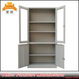 Cabinet de rangement de porte en verre Cabinet en métal avec 4 portes