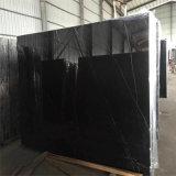 Il lusso di marmo nero assoluto di marmo di prezzi di Marquina di fabbrica del nero cinese più poco costoso di prezzi ha decorato il marmo nero con bianco