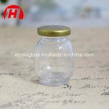 Botella de cristal del aliño de ensaladas del tarro del atasco redondo con la tapa del metal