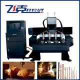 Máquina do Woodworking do CNC para a gravura lisa e giratória com 4 cabeças