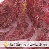 tessuto del merletto del fiore di 3D Tulle con il ricamo nuziale del merletto di cerimonia nuziale della perla