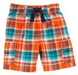 Kid's Pants Pantalon été Shorts Vivid Orange Plaid