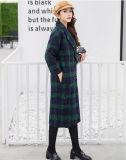 런던 여자의 의류를 위한 느슨한 긴 격자 무늬 외투