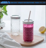 Ronda de sencillos de vidrio para bebidas Mason taza con la paja