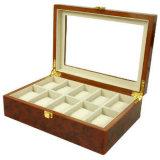 Rectángulo de almacenaje de cuero de la visualización de la caja de reloj para el reloj de lujo del estilo de la manera europea de cerámica del reloj (Lrw246)