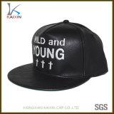 Chapéu liso bordado costume do painel da borda 6 do Snapback de couro preto
