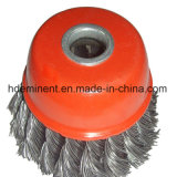 각 분쇄기를 위한 편평한 강선전도 매듭 철사 컵 바퀴 솔