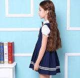 Vestito della nuova di disegno del cotone degli allievi di usura dell'uniforme scolastico di Short ragazza su ordinazione dei manicotti