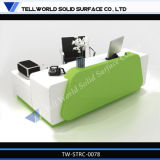 Acrylic Solid Surfaces Curved Reception Desk Service Counter Table