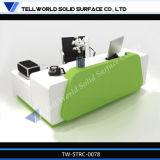 Superficie sólida de acrílico recepción curva Mesa mostrador de servicio