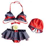Les filles Stripe Stars divisé en trois pièces maillot de bain Bikini Enfants Pack Vacances de printemps de maillots de bain chaud