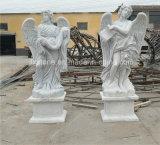Anjo de mármore branco senhora Estátua de quatro estações