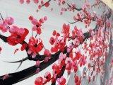 手塗りのプラム花の花のキャンバスの壁の芸術の繁文の油絵