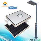 옥외 가구를 위한 1개의 태양 LED 가벼운 가로등 태양 전지판에서 12W 전부
