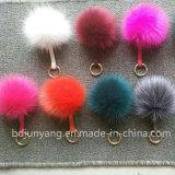 Pompoms lanuginosi della pelliccia di Fox del Faux dell'anello chiave della sfera della pelliccia del rifornimento della fabbrica della Cina