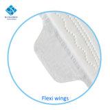 serviettes hygiéniques de Madame Thick Cotton de 245mm pour l'usage de jour avec des ailes