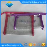 Pano de saco de fecho de vinil transparente com borda de costura de tecido