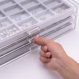 Série do acrílico 3 com a caixa do indicador do organizador do cosmético e da jóia de 3 gavetas