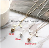 ローズの敏感な花の吊り下げ式のネックレスの魅力の金の銀の美のローズの宝石類のネックレス(EN04)
