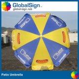 La publicité du parapluie de patio de parasol estampé par coutume de Sun de parapluies de plage