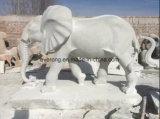 Tamanho da vida lado entalhado mármore Amarelo&Branco /Elefante Estátua de animal de pedra de granito