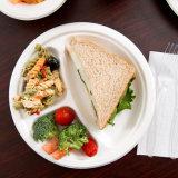 """10 de """" servicio de mesa biodegradable de la cena de la caña de azúcar de la placa 3 compartimientos de la placa redonda de la caña de azúcar"""