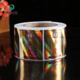 Un fuerte adhesivo pegajoso permanente botella personalizada etiqueta holográfica de sellos de seguridad / etiqueta