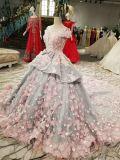 Мантия глубокий v шарика подпирает твердое платье венчания цветка