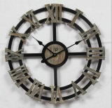 큰 크기 (120 x 120cm) 앙티크 구체 활자 벽 나무로 되는 시계