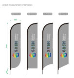 Commerce de gros Feather Beach Flag personnalisé avec le pôle d'aluminium épaisseur 1,2 mm