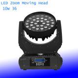 36*10W RGBW 4in 1 LED 급상승 이동하는 헤드 DJ 점화