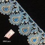 oro di stile di Baroque di 7.5cm e testo fisso blu del merletto per gli accessori Hme889 del pannello esterno